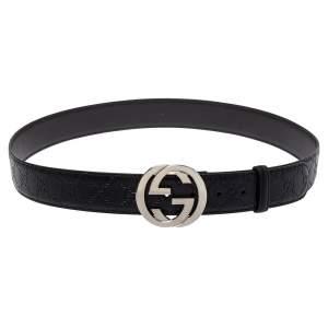 Gucci Black Guccissima Leather Interlocking G Buckle Belt 110CM