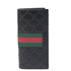 Gucci Black Guccissima Leather Web Long Wallet