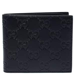 Gucci Navy Blue Guccissima Leather Bifold Wallet