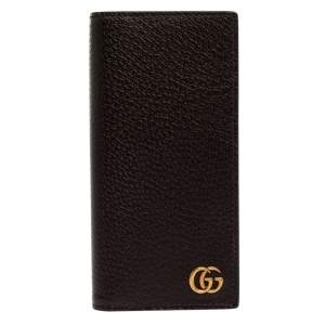 Gucci Brown Leather GG Marmont Long Bifold Wallet