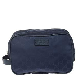 Gucci Blue GG Nylon and Leather Toiletry Pouch