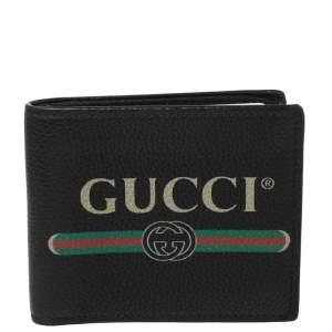 Gucci Black Leather Logo Bifold Wallet