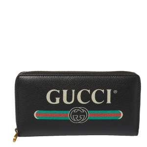 Gucci Black Soft Leather Logo Print Zip Around Continental Wallet