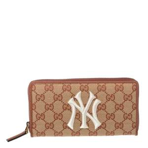Gucci Brown GG Canvas and Leather NY Yankees Patch Zip Around Wallet