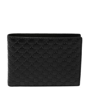 Gucci Black Microguccissima Leather Bifold Compact Wallet