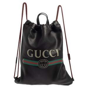 Gucci Black Soft Grain Leather Logo Drawstring Backpack