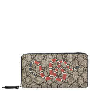 Gucci Brown GG Supreme Canvas Kingsnake Print zip around wallet