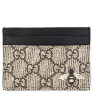 Gucci Brown GG Supreme Canvas Bee print Card Case