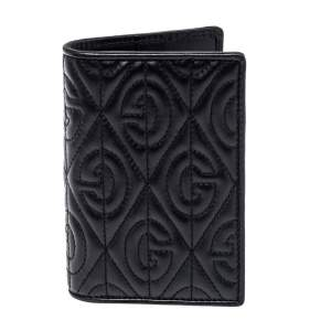 Gucci Black G Rhombus Quilted Leather Bifold Passport Holder