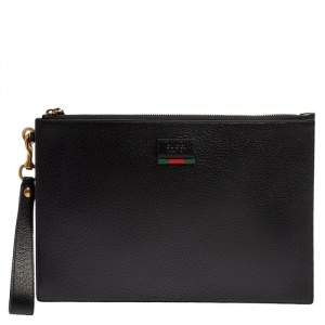 Gucci Black Leather Web Wristlet Pouch
