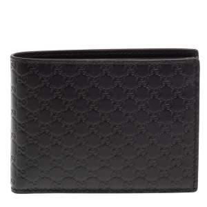 Gucci Black Leather Microguccissima Bifold Wallet