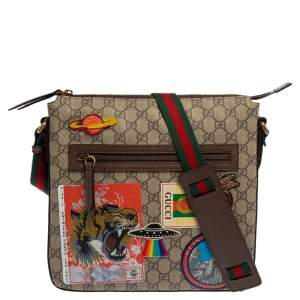 Gucci Beige GG Supreme Canvas and Leather Courrier Messenger Bag