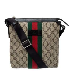 Gucci Beige GG Supreme Canvas Web Flat Messenger Bag