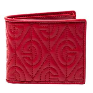 Gucci Red Rhombus Leather Bifold Wallet