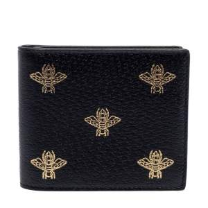 Gucci Black Leather Bee Star Bifold Wallet
