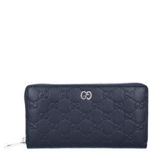 Gucci Navy Blue Guccissima Leather Zip Around Wallet