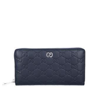 Gucci Navy Blue Guccissima Leather Zip Around Wallet