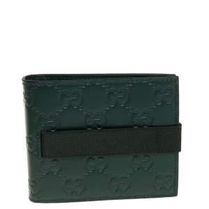 Gucci Dark Green Guccissima Leather Money Clip Bifold Wallet