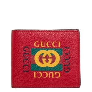 Gucci Red Leather Logo Bifold Wallet