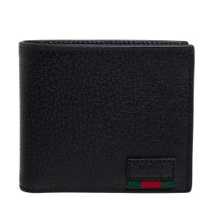 Gucci Black Leather Web Bifold Wallet