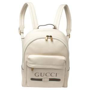 حقيبة ظهر غوتشى مطبوع شعار الماركة جلد كريمي