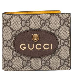 Gucci Neo Vintage Beige/Brown GG Supreme And Leather Wallet