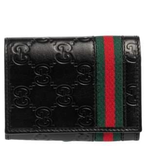 Gucci Black Guccissima Leather Web Card Case