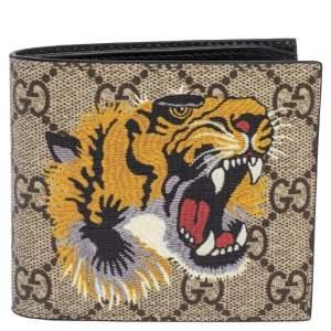Gucci Multicolor Tiger Print GG Supreme Bifold Wallet