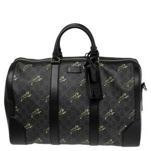 Gucci Black Tiger Print GG Supreme Canvas and Leather Carry On Duffel Bag