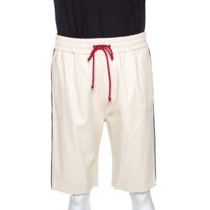 Gucci Cream Leather Stripe Detail Drawstring Waist Shorts M