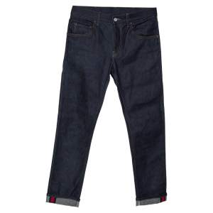 Gucci Indigo Denim Web Stripe Cuff Detail Tapered Jeans M
