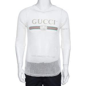 Gucci White Logo Print Cotton Mesh Raglan Sleeve T-Shirt XL
