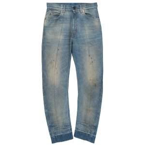 Gucci Indigo Heavy Wash Denim Distressed Curved Jeans S
