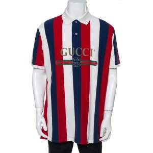 Gucci Tri Color Cotton Stripe Logo Baiadera Polo T-Shirt XL