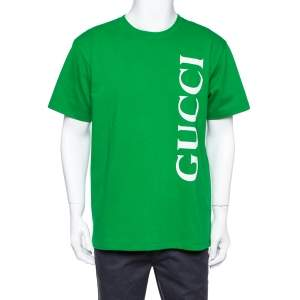 Gucci Green Logo Print Cotton Oversized T-Shirt S
