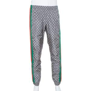 Gucci Grey Synthetic GG Supreme Web Stripe Print Sweat Pants XL
