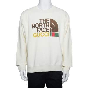 Gucci X The North Face Cream Cotton Logo Printed Sweatshirt M