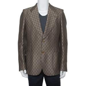 Gucci Brown Cotton & Wool Guccissima Logo Detail Blazer XL