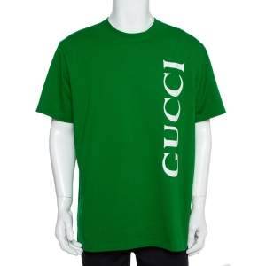 Gucci Green Logo Printed Cotton Crewneck T-Shirt L