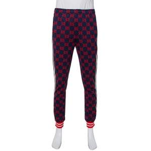 Gucci Navy Blue Logo Jacquard Knit Side Strip Detail Joggers L