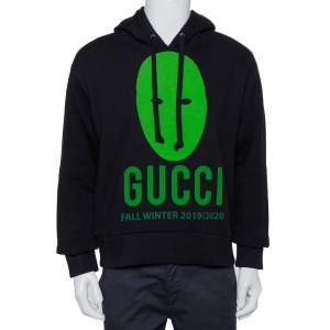 Gucci Black Cotton Manifesto Printed Oversized Hoodie XS