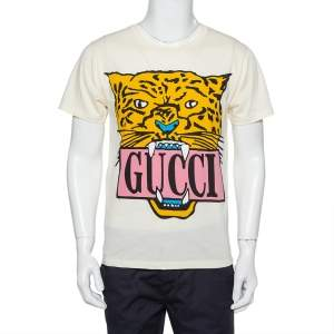 Gucci Cream Tiger Printed Cotton Crewneck T-Shirt XS