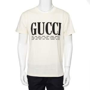 Gucci Cream Logo Cities Printed Cotton Crewneck T-Shirt S