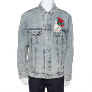 Gucci Blue Faded Denim Heart  Applique & Embroidered Oversized Jacket XS
