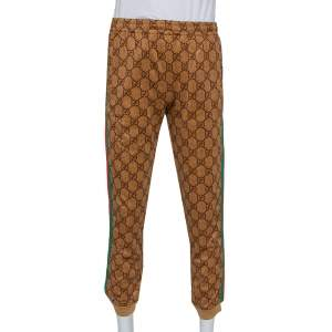 Gucci Brown Jersey Side Strip Detail Technical Joggers XS