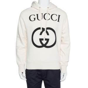Gucci Cream Cotton Interlocking G Print Hooded Sweatshirt XS
