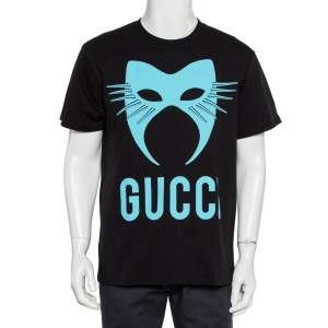 Gucci Black Logo Mask Print Cotton Oversized T-Shirt XS