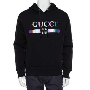 Gucci Black Logo Print Cotton Hooded Sweatshirt XS