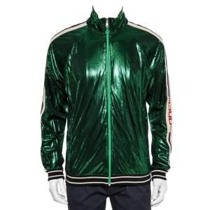 Gucci Green Lame Side Stripe Detail Zip Front Oversized Jacket XS
