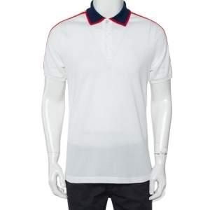 Gucci White Honeycomb Knit Logo Detail Contrast Trim Polo T-Shirt L